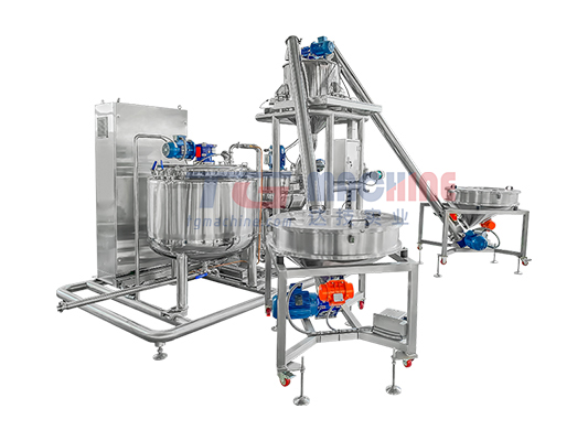 Dissolving and mixing unit with automatic weighing system
